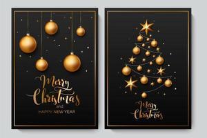 Kerst achtergrond met glanzende gouden ornamenten vector