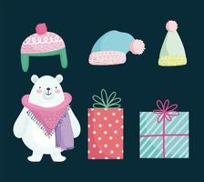 vrolijke kerst schattige set vector