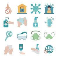 coronavirus pandemie preventie platte pictogramserie