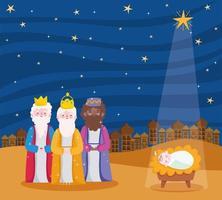 vrolijk kerstfeest en kerststal banner met bijbelse magiërs vector