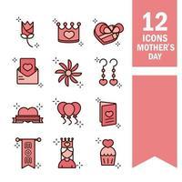 Moederdag viering pictogramserie