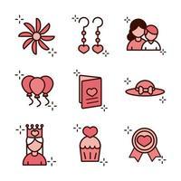 Moederdag viering pictogramserie vector