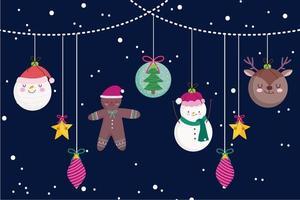 vrolijke kerstbanner met schattige karakters vector