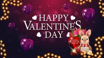 gelukkige Valentijnsdag paarse ansichtkaart met paars hart