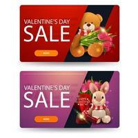 Valentijnsdagverkoop, twee kortingsbanners met speelgoed