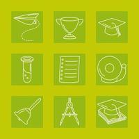 terug naar school en onderwijs lijn pictogramserie vector