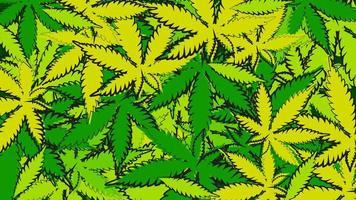 textuur van cannabisbladeren in doodle stijl