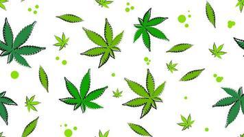 naadloze textuur met bladeren van cannabis.