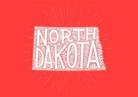 North Dakota state lettering vector