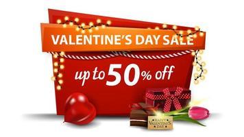 Valentijnsdagverkoop, tot 50 korting op de banner vector
