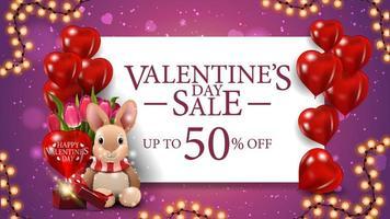 Valentijnsuitverkoop, tot 50 korting op banner vector