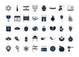 Chanoeka, Joodse traditionele ceremonie silhouet pictogramserie