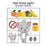 het immuunsysteem versterken om de coronaviruskaart te bestrijden vector