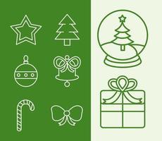Kerst lijn pictogramserie