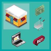 online winkelen en e-commerce isometrische icon set