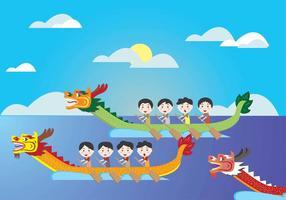 Dragon Boat Festival Kids Vector