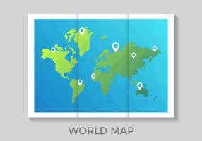 Gevouwen Wereld Kaart in Lage Poly Stijl Vector