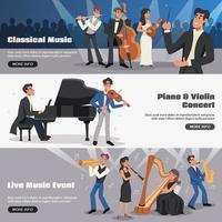 muziek en concert sjabloon banner set vector