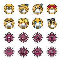 emoticon met gezichtsmasker en coronavirus icon set
