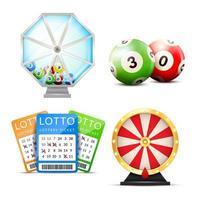 realistische loterijaccessoireset vector