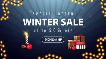 winteruitverkoop, donkere en blauwe kortingsbanner