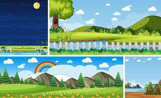 vier verschillende natuurscènes in verticale en horizonscènes overdag en 's nachts