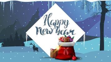 gelukkig nieuwjaar, blauwe ansichtkaart met witte diamant