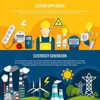 elektrische apparaten en banner set voor energieopwekking vector