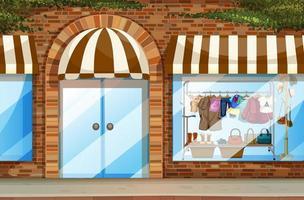 kledingwinkel vooraanzicht scène