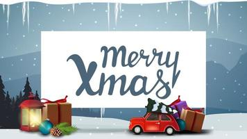 vrolijk kerstfeest, blauwe ansichtkaart met oude lantaarn