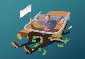Een Korrupte Muis Gevangen In Een Trap vector
