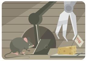 Een muis trekt om een muisklep te hakken met een laptop- en robotvector vector