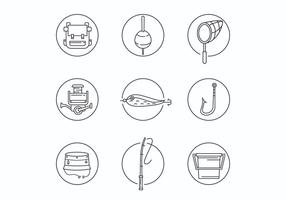 Dun Line Fishing Equipment Icons vector