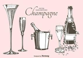 Fizz Champagne Flutes, Flessen En Emmer Vector Illustratie
