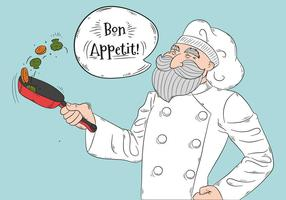 Leuke Oude Chef-kok Koken Groenten En Glimlachen vector