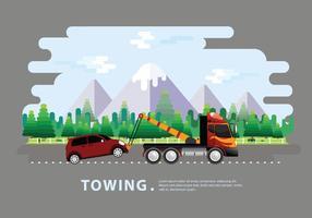 Towing Truck Service Vector Vlakke Illustratie