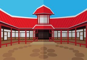De buitenkant dojo tempel vector