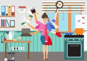 Vrouw In Multitasking Situatie vector