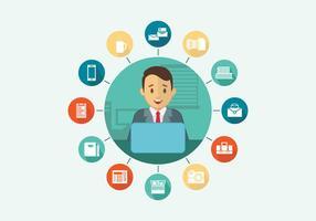 Multitasking Office Worker Vector Vlakke Illustratie