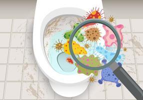 Mallen en bacteriën in het toilet vector