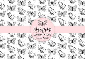 Mariposa Handgetekende Naadloze Vector Patroon