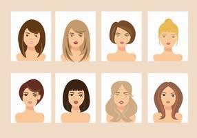 Vrouw met verschillende haarstijl Avatar Vectors