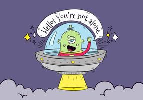 Hand getekende Groene Alien Met Raket Saying Hello With Speech Bubble