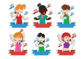 Mensen zingen vector illustratie set
