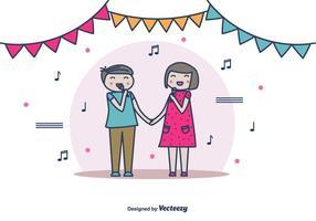 Paar Zingen Vector