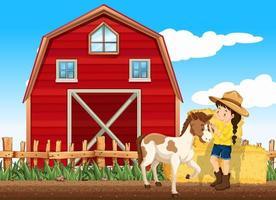 boerderijscène met meisje en paard op de boerderij vector