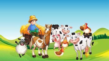 boerderij scène met cartoon stijl van dierenboerderij