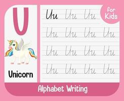 alfabet overtrekken werkblad met letter en woordenschat vector