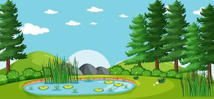 leeg landschap in natuurparkscène met veel dennen en moeras vector