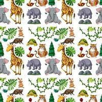 safari dierlijk naadloos patroon met schattige dieren vector